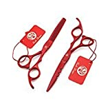 6.0'' Professional Barber Hair Flat Cutting Scissors Salon Hair Thinning Scissor Hairdresser Shear with Bag (Color: Red, Tamaño: 6.0 inch)