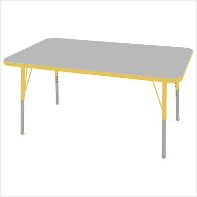 Ecr4kids 30 x 48 rectangular activity table toddler legs w swivel glides gray top yellow - Table glides for legs ...