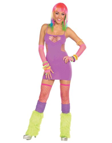 Women's Sexy Club Candy Rave Party or 80s Purple Sweetheart Party Costume Dress
