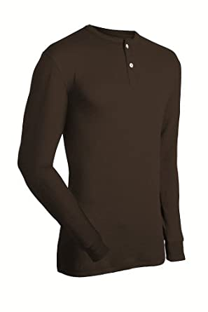 Coldpruf Men's Authentic Cotton/Merino Wool Long Sleeve Henley Shirt ( Sizes: M-2X)-Black-2X