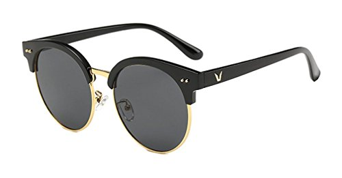 Unisex Half Frame Horn Rimmed Polarized Sunglasses with Golden Metal Rivets (Black, Grey) (Half Rimmed Sunglasses For Women compare prices)