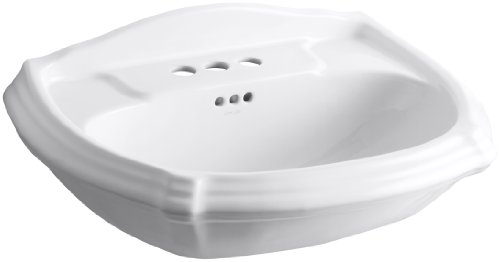 KOHLER K-2222-4-0 Portrait Pedestal Bathroom Sink Basin, White (Pedestal Sink With Backsplash compare prices)