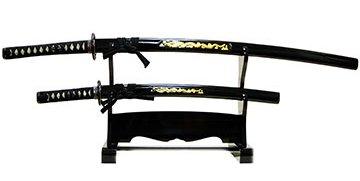 美術刀剣-模造刀 日本刀・彫金 竜・黒セット(大刀・小刀・二本掛台セット)