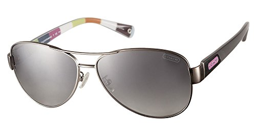 Coach Hc7003 9010/ T3 L012 Kristina Silver & Black Metal Aviator Sunglasses With Colorful Interior