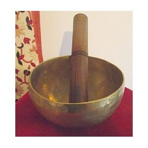 Tibetan Buddhist Singing Bowl; 5.5in Diameter; 530gram Weight. Hand Beaten and produced in Nepal; Playing Stick Included - sold by Spiritual Gifts. Usually dispatched within 2 working days.