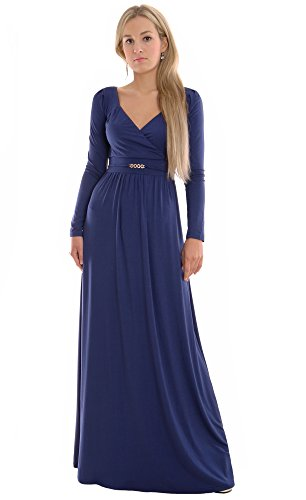 Long Sleeve Maxi Dress Blue Empire Style by MontyQ 10/12