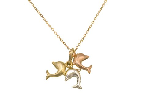 9ct Three-Colour Gold Ladies' Dolphins Pendant + 46cm Trace Chain