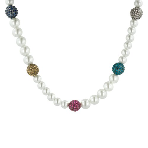White Simulated Pearl and Multi-Color Pave Gun Metal Tone Necklace, 16.5