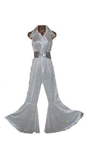 Abba Sequin Fancy Dress Jumpsuit & Belt for 70 Retro Disco Fever Size M (Women: