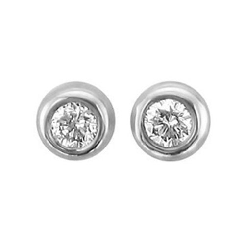 Tiny Brilliant Cut Diamond Stud Earrings in 10K White Gold (HI, I1-I2, 0.05 Carat)