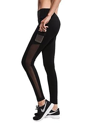 Women's Yoga Pants Mesh Sports Gym Workout Elastic Joggers Running Leggings Black