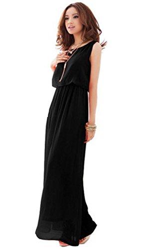 Dayiss ® pliega mujeres sencillo vestido de gasa vestido verano maxi playa vestido sin mangas de cuello redondo larga (negro) (L)