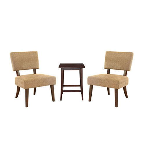 Cheap 3-Pc. Set – 2 Tan Accent Chairs and 1 Merlot Square End Table (398-738)