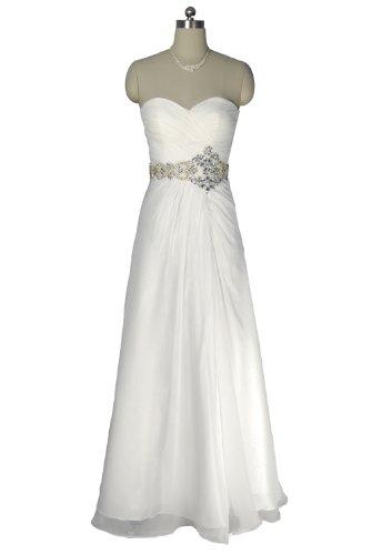 Qpid Showgirl Robe de mariée blanche avec ceinture strass robe de soirée bustier 1293W**Livraison gratuite à partir de UK** (EU48(Buste:114cm-Taille:94cm-Huften:119cm), blanc)