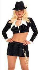 2-Piece Sexy Pinstriped Mobster Costume