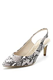 Autograph Leather Faux Snakeskin Print Slingback Shoes with Insolia