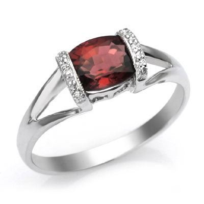14k White Gold Garnet and Diamond Ring Size 7