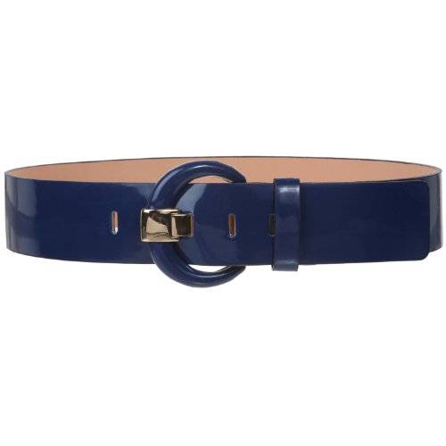 "2"" Wide High Waist Patent Leather Fashion Round Belt Size: M - 34"" Color: Navy Blue"