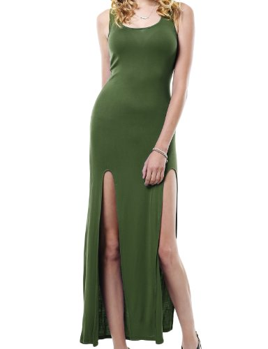 J.Tomson Womens Sexy Fitted Sleeveless Maxi Dress With Slits Olive Large