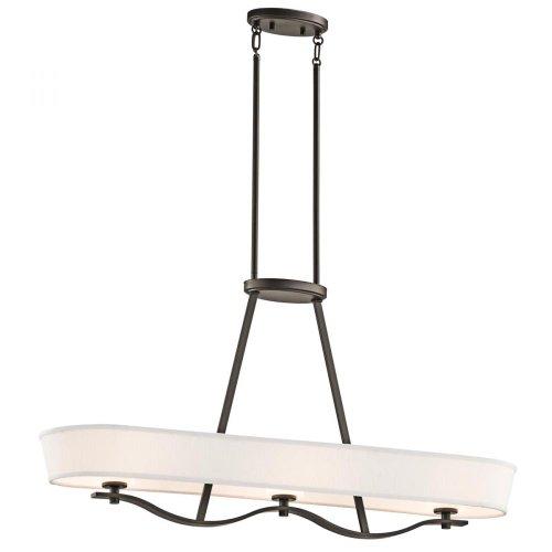 New Kichler Lighting OZ Glissade Light Linear Chandelier Old Bronze Finish with Light Beige Fabric Shades
