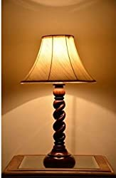 AADHYA CREATIONS Wooden Table Lamp Rope Style (Size- 25.4 x 17.8 x 17.8 cm)