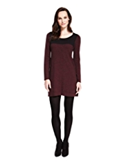 M&S Collection Colour Block Knitted Tunic Dress with Wool