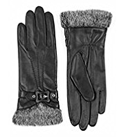 M&S Collection Leather Faux Fur Buckle Gloves