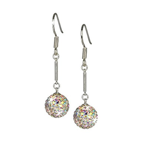 SilberDream Glitter Earring Swarowski Elements white polar light, 925 Sterling Silver GSO101