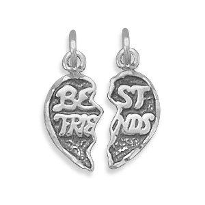 Sterling Silver Small Break-away Best Friends Charm Break-away Measures 12x12mm - JewelryWeb