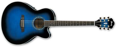Ibanez Ael20Etbs Ael Series Acoustic Electric Guitar, Transparent Blue Sunburst