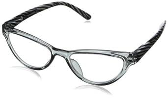 Peepers Women's The Mrs. Wayfarer Reading Glasses,Grey Zebra,+2