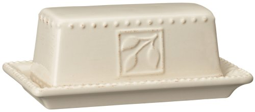 Signature Housewares Sorrento Collection Butter Dish, Ivory Antiqued Finish front-620957
