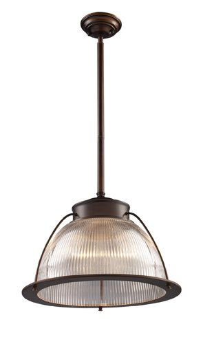 Landmark 60014-1 Halophane 1-Light Pendant, Aged Bronze, 13-Inch H by 16-Inch W