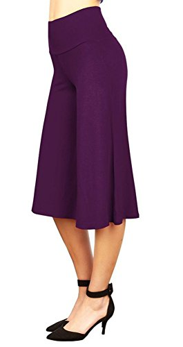 Purple SiYuan Solid Color High Waist Wide Leg Cropped Palazzo Pants for Women XXL