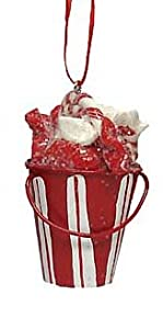 "2.75"" Peppermint Twist Sugar Candy Cane Bucket Christmas Ornament"