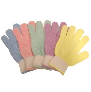 Swissco Bath & Shower Exfoliating White Cuff Pastel Gloves