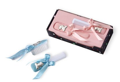 d97a92054d329d BABY HAIR BRUSH and COMB Gift SET in STERLING SILVER Made in ITALY BLUE  PINK PINK SET
