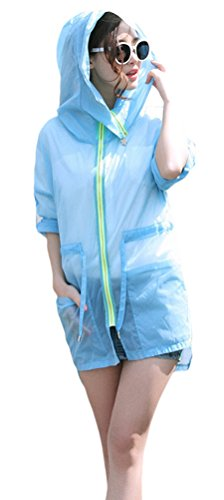Women Summer Long Sleeve Sun UV Protective Thin Shirt Cool Beach Coat,Blue