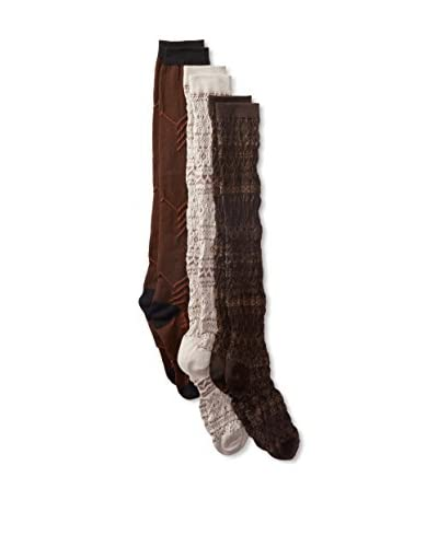 Muk Luks Women's 3-Pair Brown Over The Knee Socks