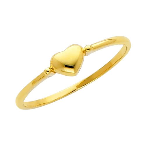 14K Yellow Gold High Poliosh Finish Heart Ladies Promise Ring Band - Size 8.5