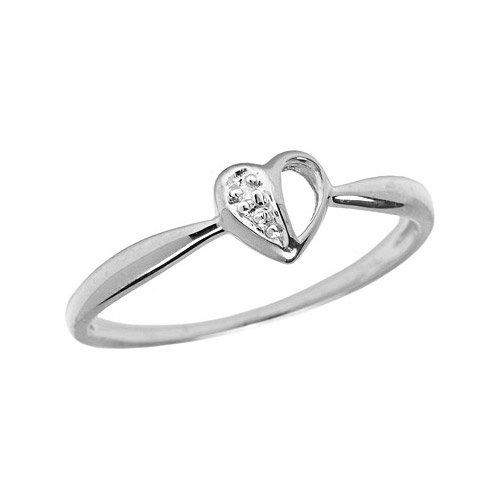 10K White Gold Diamond Heart Ring (Size 10)