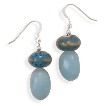 Sterling Silver Amazonite and Ceramic Bead Earrings