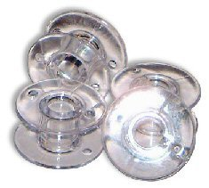 niceEshop 15J Style Sewing Machine Bobbins for Singer (Clear, Set of 10)