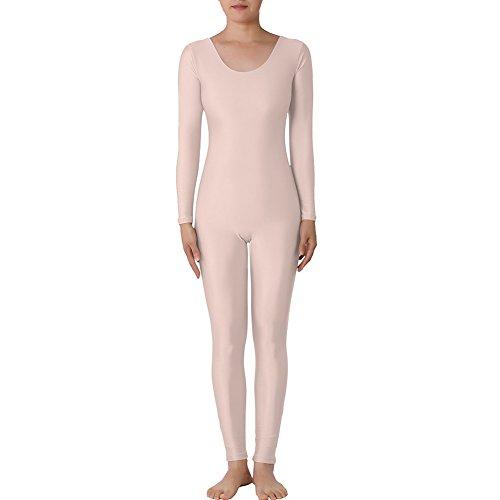 Muka Scoop Neck Long Sleeve Unitard Lycra Zentai Bodysuit Catsuit Dancewear NUDE-XXL (Abba Fancy Dress Outfits)