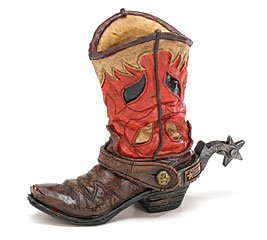 western cowboy boot vase with spurs western