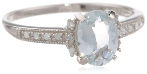Sterling Silver Aquamarine and Diamond Ring (0.07 Cttw, G-H Color, I2-I3 Clarity), Size 8