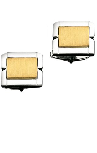 14K Brushed Gold in Center of Sterling Silver Frame Cuff Links-86320