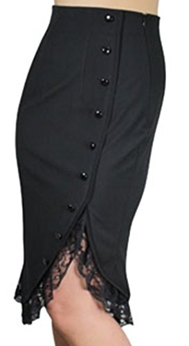 Lacey-Tulips-Vintage-Style-40s-50s-Retro-Black-Lace-Ruffle-Pencil-Skirt