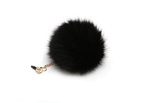 Poposh Pompon Ball Anti Dust Plug Earphone Cap Jack Headphone Port Stopper Caps For Smartphones Tablet Notebook With 3.5Mm Headphone Ports For Apple Iphones, Ipods, Ipads, Samsung Galaxy And Tab, Htc, Sony, Blackberry Smartphones And Tablets- Black