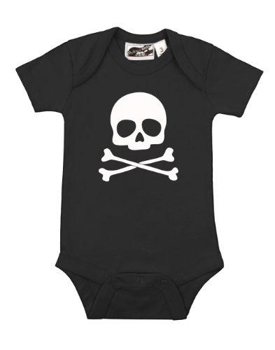 Skull & Crossbones Black & White One Piece 6-12 Months front-900681